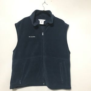 Columia fleece vest solid blue plus size Xxl Men's